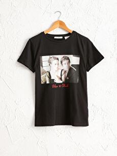 Blair Ve Chuck Baskılı Pamuklu Tişört