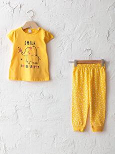 Bisiklet Yaka Kısa Kol Baskılı Pamuklu Kız Bebek Pijama Takımı