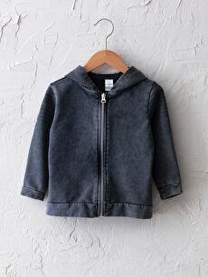 Kapüşonlu Basic Erkek Bebek Fermuarlı Sweatshirt