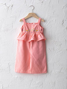 Strappy Square Neck Embroidered Cotton Baby Girl Overalls