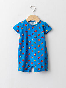 Crew Neck Short Sleeve Superman Printed Cotton Baby Boy Jumpsuit