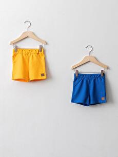 Elastic Waist Basic Cotton Baby Boy Shorts 2 Pieces