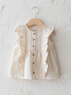 Crew Neck Sleeveless Baby Girl Shirt