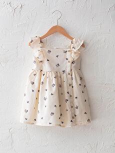 Kolsuz Desenli Kız Bebek Elbise