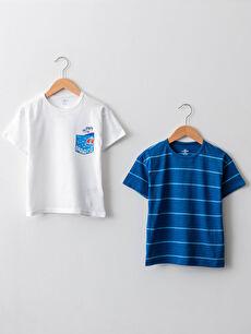 Crew Neck Short Sleeve Cotton Baby Boy T-Shirt 2 Pieces