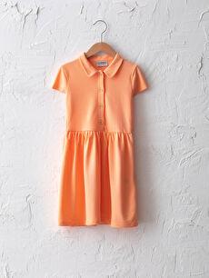 Basic Polo Neck Short Sleeve Girl Dress