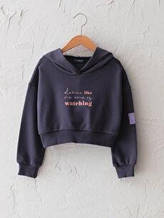 Kapüşonlu Yazı Baskılı Uzun Kollu Kız Çocuk Sweatshirt