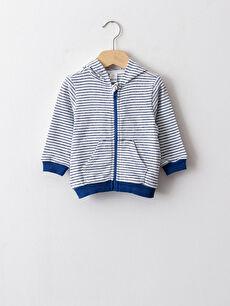 Kapüşonlu Çizgili Erkek Bebek Fermuarlı Sweatshirt