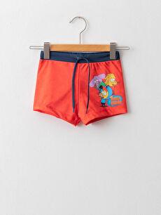 King Şakir Printed Quick Drying Boy's Boxer Swimsuit