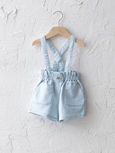 LCW GREEN Pamuklu Beli Lastikli Basic Kız Bebek Jean Şort
