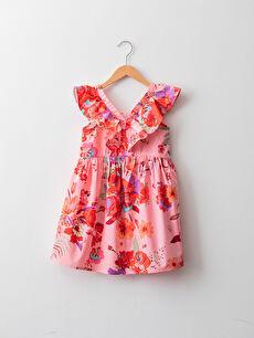 V Yaka Çiçek Desenli Fırfır Detaylı Poplin Kız Çocuk Elbise