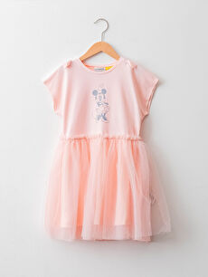 Crew Neck Minnie Mouse Printed Short Sleeve Tulle Girl Dress and Cape