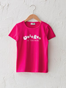 Bisiklet Yaka Baskılı Kısa Kollu Kız Çocuk Tişört