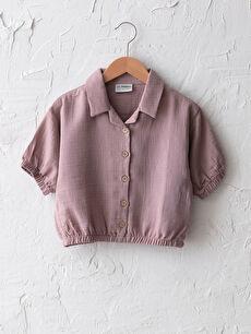 Kısa Kollu Basic Pamuklu Kız Çocuk Gömlek
