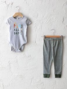 Bisiklet Yaka Kısa Kol Baskılı Erkek Bebek Pijama Takım