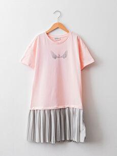 Crew Neck Printed Short Sleeve Pleated Girl's Dress