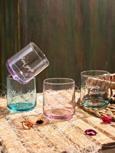 Slogan Baskılı Su Bardağı 4'lü