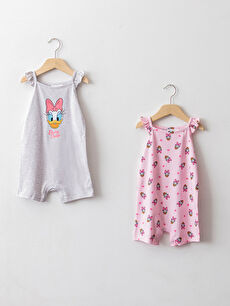 Square Neck Strap Daisy Duck Printed Baby Girl Jumpsuit 2 Pieces