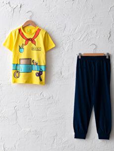 Bisiklet Yaka Baskılı Kısa Kollu Erkek Çocuk Pijama Takımı