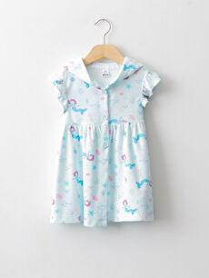 Hooded Printed Cotton Baby Girl Bathrobe