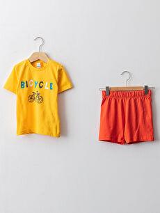 Bisiklet Yaka Kısa Kol Baskılı Pamuklu Erkek Bebek Pijama Takımı