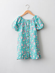 Floral Pattern Short Sleeve Poplin Girl Dress