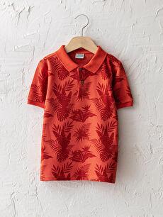 Polo Yaka Desenli Kısa Kollu Pamuklu Erkek Çocuk Tişört