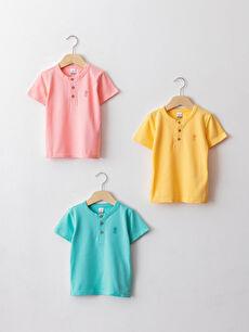 Crew Neck Short Sleeve Cotton Baby Boy T-Shirt 3 Pieces