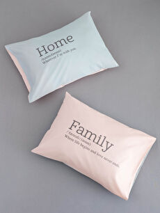 Printed Woven Pillow Case 2 Pack 50x70 Cm
