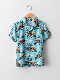 Patterned Short Sleeve Viscose Boy Shirt