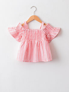 Square Neck Open Shoulders Striped Baby Girl Blouse