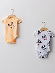 Crew Neck Short Sleeve Mickey Mouse Printed Cotton Baby Boy Snap Button Body 2 Pack