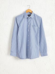 Slim Fit Ekose Uzun Kollu Armürlü Gömlek