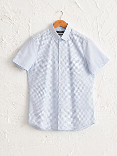 Slim Fit Desenli Kısa Kollu Gömlek