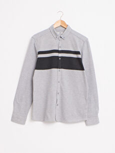 Slim Fit Uzun Kollu Çizgili Gömlek