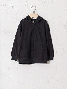 Erkek Çocuk Fermuarlı Kapüşonlu Sweatshirt