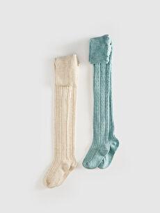 Kız Çocuk Külotlu Çorap 2'Li