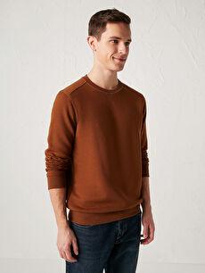 Comfortable Fit Crew Neck Basic Sweatshirt