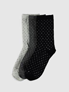Desenli Soket Çorap 3'lü