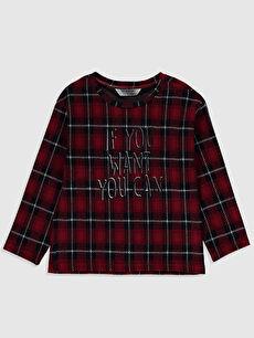Kız Çocuk Yazı Baskılı Ekose Tişört