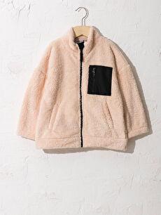Girl's Zip-Down Plush Sweatshirt