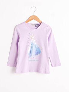 Kız Çocuk Elsa Baskılı Pamuklu Tişört