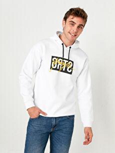Kapüşonlu Baskılı Kalın Sweatshirt