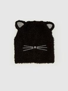 Kız Çocuk Kedi Görünümlü Triko Bere