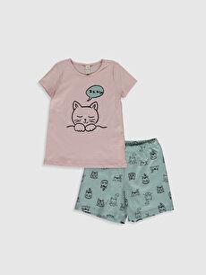 Kız Çocuk Organik Pamuklu Pijama Takımı