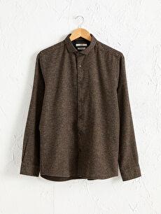 Regular Fit Uzun Kollu Armürlü Gömlek