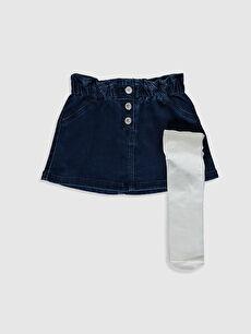 Kız Bebek Jean Etek Ve Külotlu Çorap