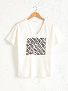 Pul Nakışlı Pamuklu Tişört