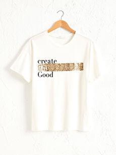 Yazı Baskılı Pul İşlemeli Pamuklu Tişört