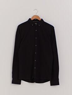 Slim Fit Uzun Kollu Pamuklu Gömlek